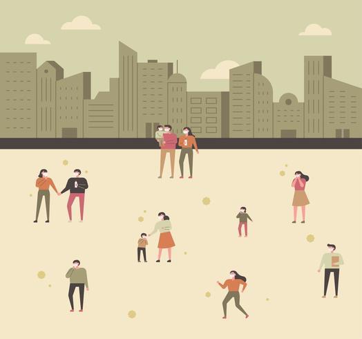 Många människor bär masker på stadens bakgrund och på vägen. vektor