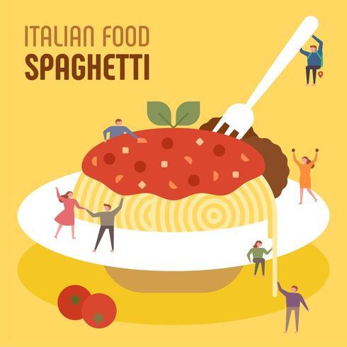 Små människor äter enorm italiensk spaghetti. vektor