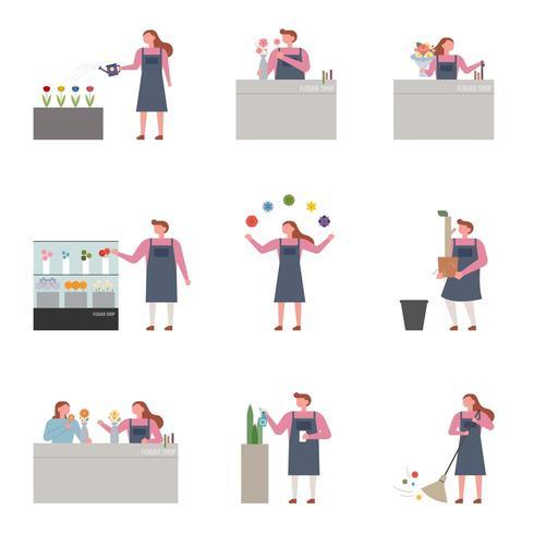 Samlingsuppsättning av anställda som arbetar på blomsterbutiken. vektor