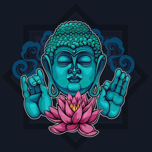 Visar Buddha Sutra och Lotus vektor
