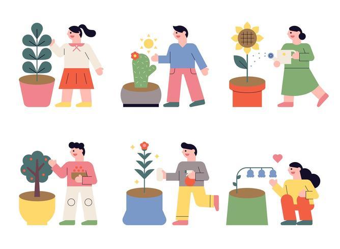 Folk som planterar blommor på krukor. vektor