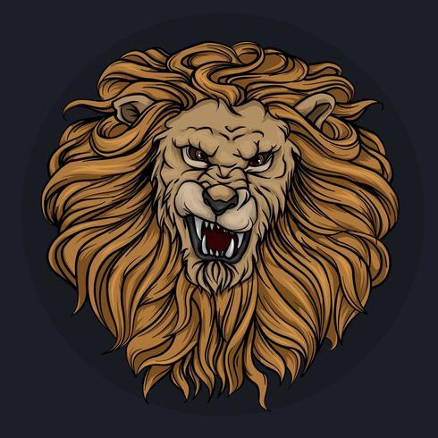 Huvudet av ett brusande lejon med en man vektor