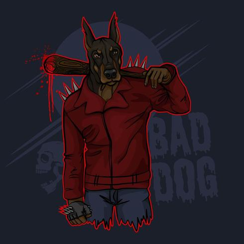 dålig hund doberman vektor