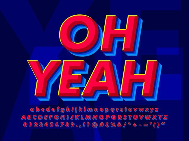 Modern röd och blå texteffekt vektor