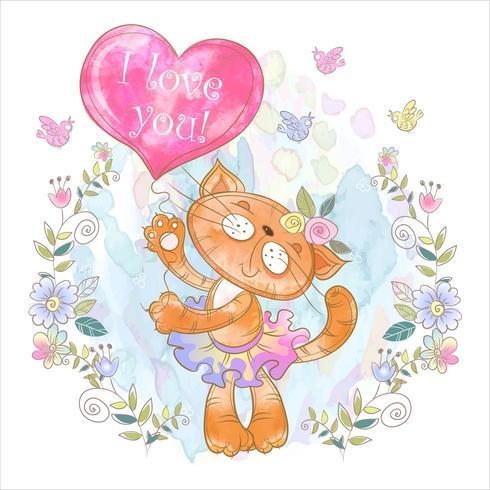 Söt kattunge med en ballong i form av ett hjärta. Jag älskar dig. vektor