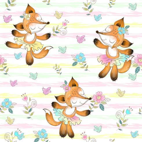 Nahtloses Muster für Kinder mit netten Fuchsballerinen vektor