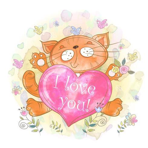 Söt kattunge med ett hjärta. Jag älskar dig. vektor