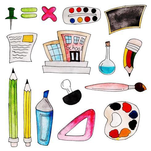 Akvarell tillbaka till skolelementsamlingen vektor