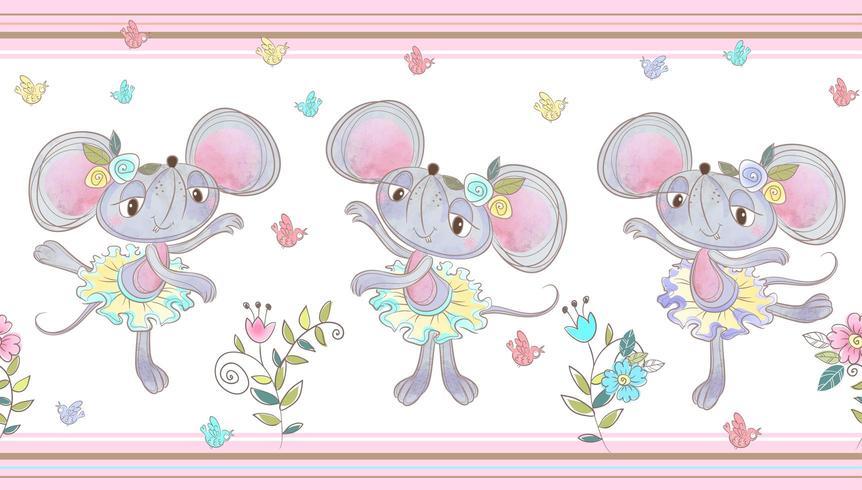Nahtlose Grenze. Lustige kleine Mäuse tanzen. vektor