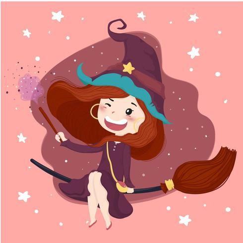 nette Hexe mit einem magischen Stockhalloween-Hintergrund im purpurroten Kleid reiten eine Blüte, flachen Vektorcharakter vektor
