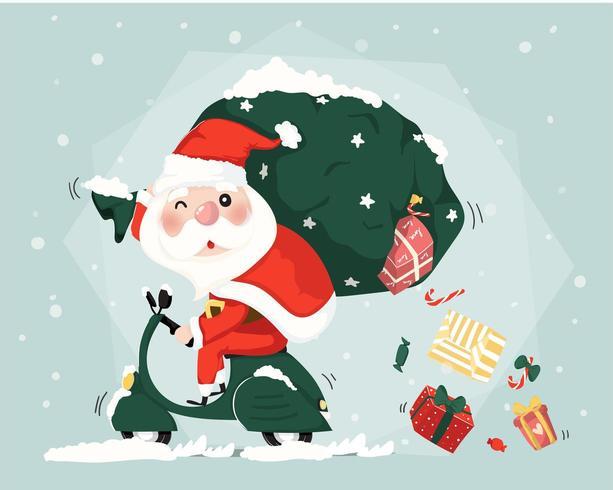 Jultomten rider scooter leverans presenterar lådor jul gullig platt vektor