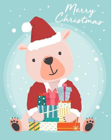 glad söt brunbjörn bär jultomten outfit som håller nuvarande presentförpackning med snö faller i bakgrunden vektor