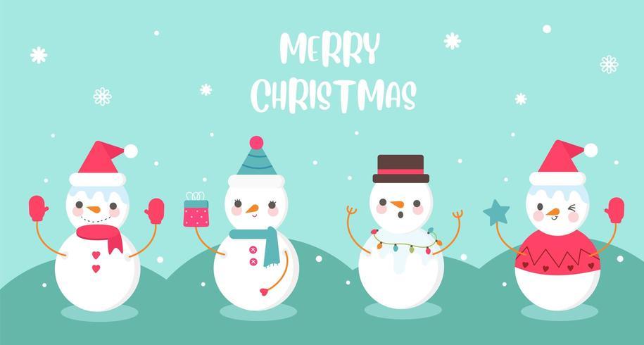 Packung mit süßen Schneemann Sammlung Weihnachtsfest kawaii vektor