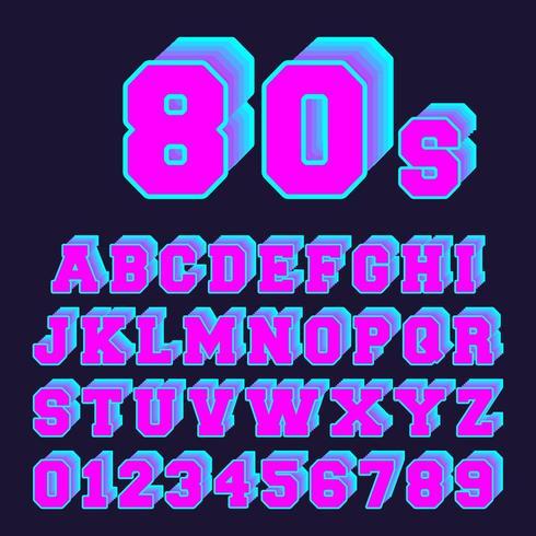 80-tal alfabetet teckensnitt design. Uppsättning av bokstäver och siffror gammal videospel stil vektor