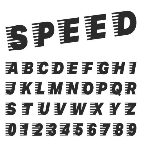 Mall för hastighet alfabetet. Uppsättning av bokstäver och siffror vektor