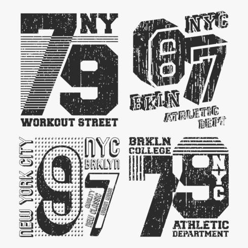 Brooklyn New York vintage t-shirt stämpeluppsättning vektor
