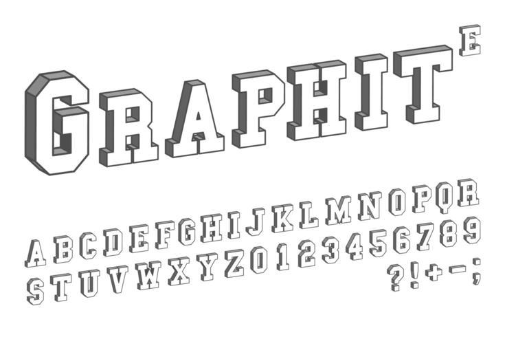 Mall för 3D-teckensnitt. Bokstäver och nummer isometrisk vektordesign vektor