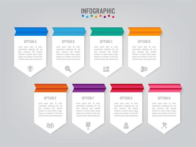 Geschäft Infografik Etiketten Vorlage mit 8 Optionen vektor