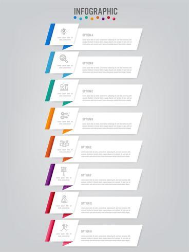 Business infographic etikettmall med 8 alternativ vektor