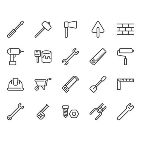 Konstruktionsverktyg relaterade ikonuppsättning vektor
