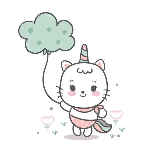 Nette Einhornkatze, süße Ponykarikatur, die Wolke, feenhaftes Tier hält vektor