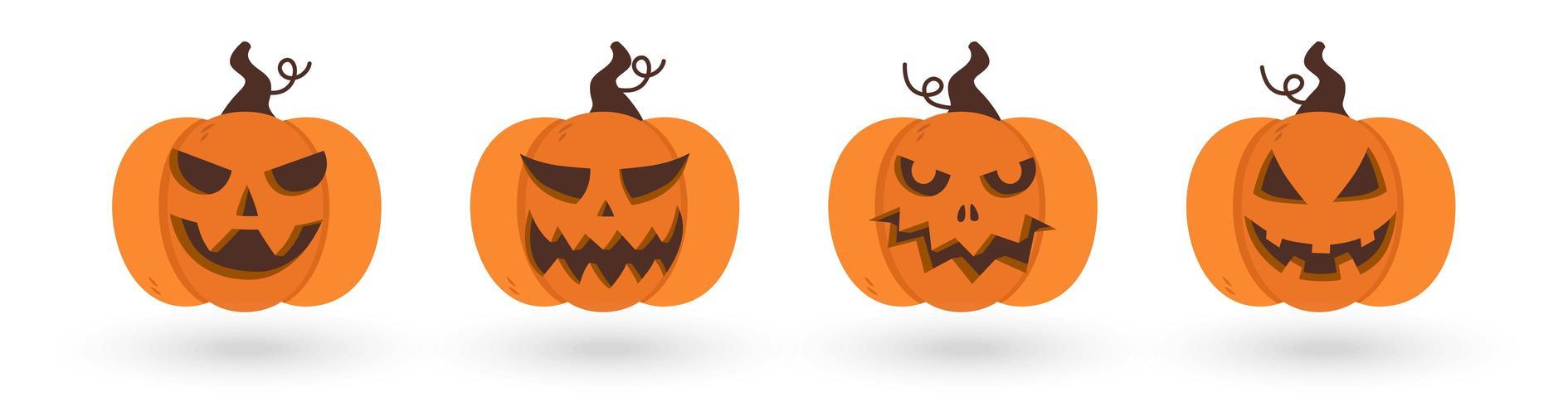 Uppsättning av läskiga och roliga halloween pumpor vektor
