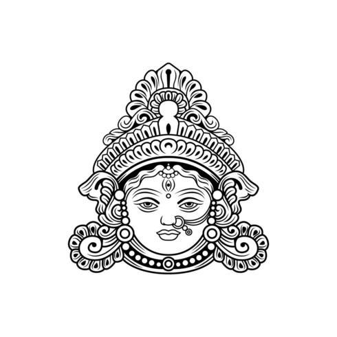 Durga Maa Face dekorativ illustrationvektor vektor