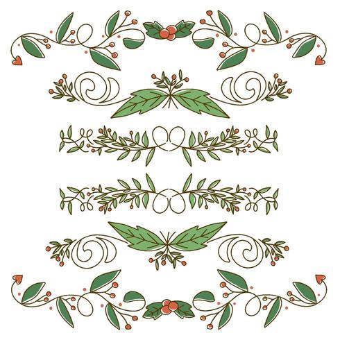 Söt gräns design för julelement vektor