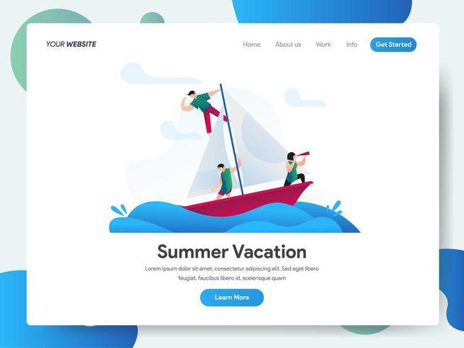 Landningssidemal för sommarsemester vektor