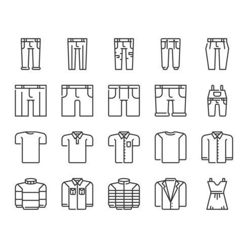 Kläder Ikonuppsättning vektor