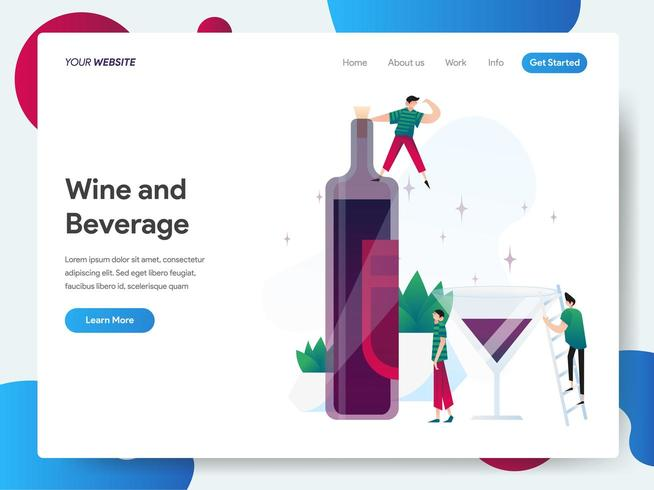 Landningssidamall med vin och dryck vektor