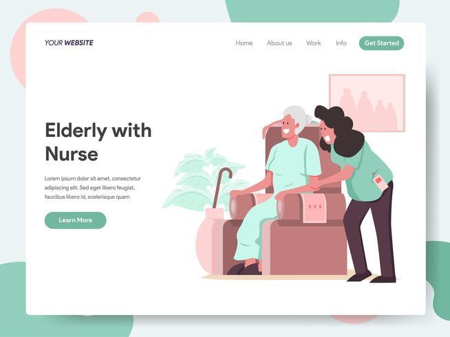 Landingpage-Vorlage von älteren Menschen mit Pflegekraft oder Krankenschwester vektor