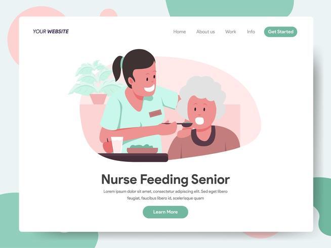 Landningssidamall för sjuksköterska som matar senior vektor