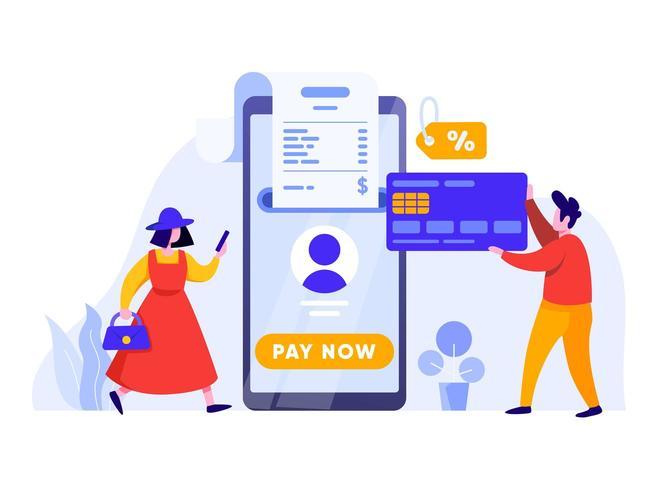 Online-Zahlung mit Handy und Kreditkarte vektor