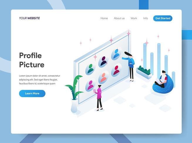 Zielseitenvorlage von Profilbild oder Avatar vektor