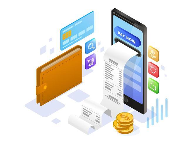 Online-Zahlung mit Handy vektor