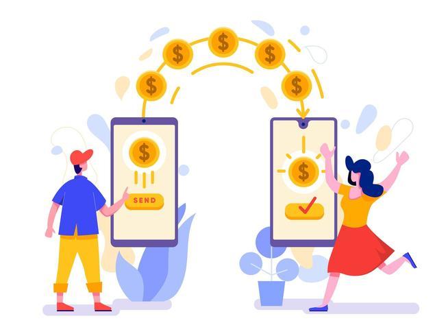 Online pengaröverföring med mobiltelefon vektor