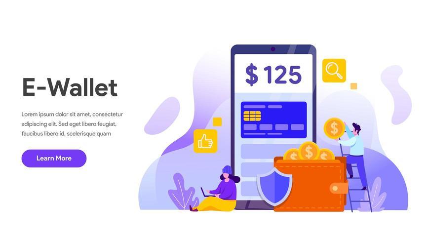 E-Wallet-Konzept. Finanztechnologie vektor