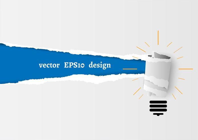 Glödlampan rullas upp i sönderrivet papper vektor