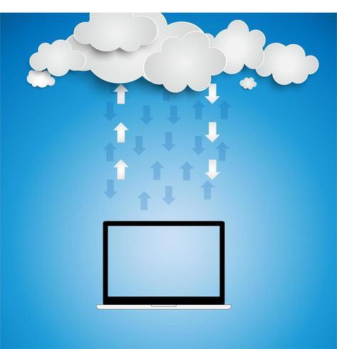 Datenverarbeitungskonzept der Wolke in der Papierschnittart vektor