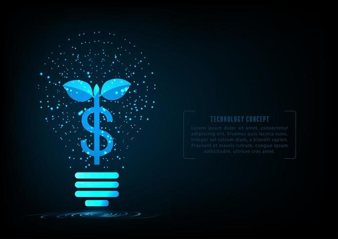 Pflanzen Sie wachsendes Geld in Form Glühlampe der glühenden Partikel vektor
