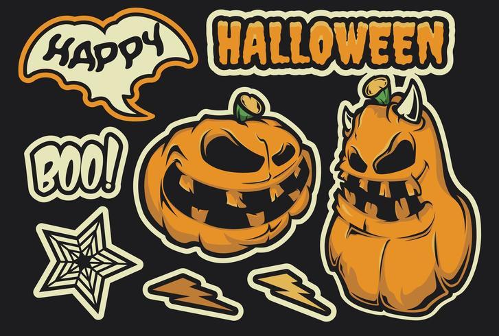 Halloween klistermärke pack vektor