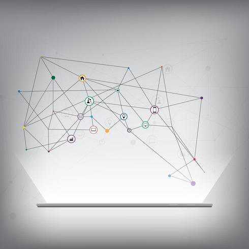 Molekyl- och kommunikationsikoner ovanför glödande smartphone vektor