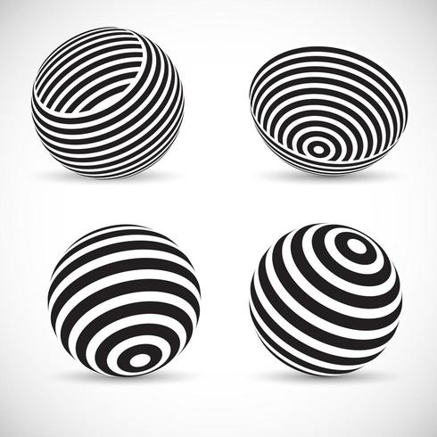Randiga sfäriska mönster vektor
