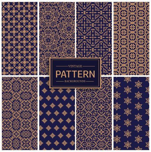 Guld- och blå vintage-mönstersamling vektor