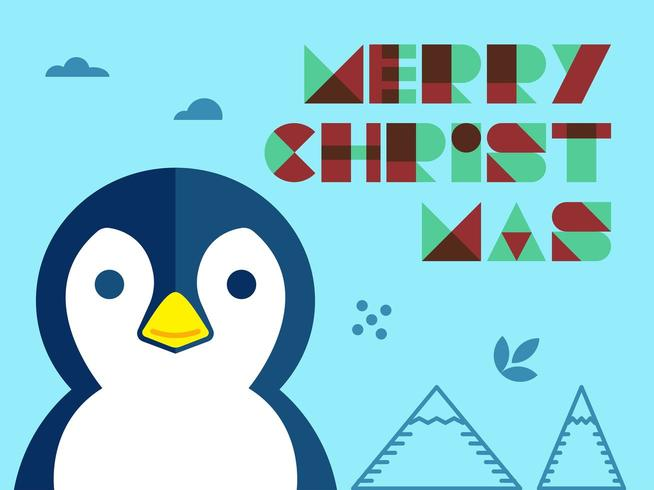 Penguin julhälsning vektor