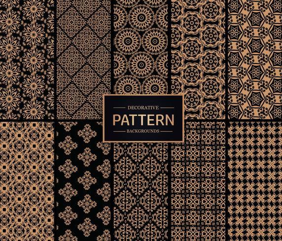 Guld- och svart dekorativ mönsterbakgrund vektor