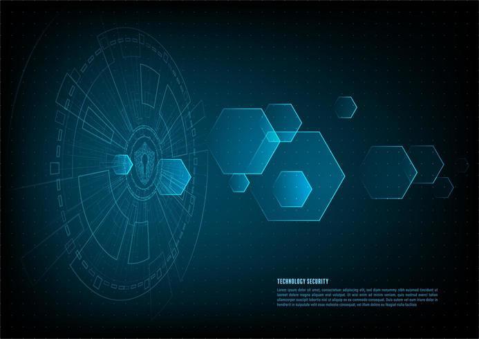 Digital data Shield With Keyhole icon och sexhörningar vektor