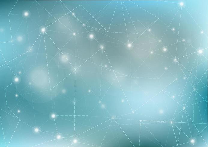 Virtuell abstrakt bokehbakgrund med partikel, molekylstruktur vektor