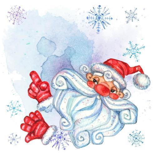 Inbjudan med jultomten. Julkort med utrymme för text. Vattenfärg vektor
